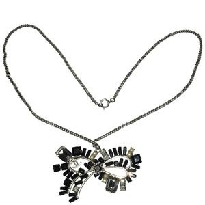 Authentic Chanel Crystal Bow Logo Necklace
